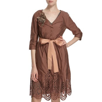 Hoss Intropia Rust Laser Cut Belted Dress Coat