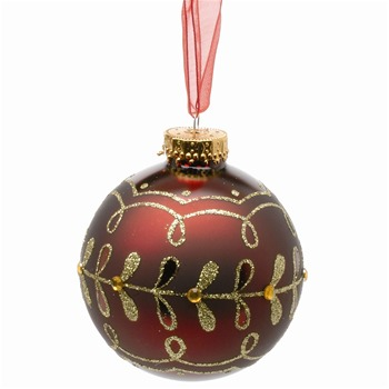 Festive Set of Nine Burgundy Glass Baubles