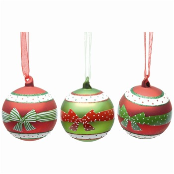 Festive Set of Nine Red/Green/White Assorted Baubles