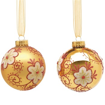 Festive Set of Nine Gold Matt/Shiny Decorated Glass Baubles