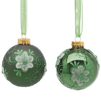 Festive Set of Nine Green Matt/Shiny Decorated Glass Baubles