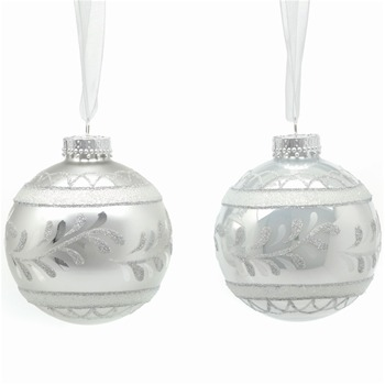 Festive Set of Nine Silver Matt/Pearl Decorated Glass Baubles