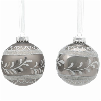 Festive Set of Nine Antique Silver Matt/Pearl Decorated Glass Baubles