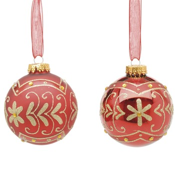 Festive Set of Nine Red Decorated Glass Baubles
