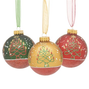 Festive Set of Nine Red/Gold/Green Decorated Glass Baubles