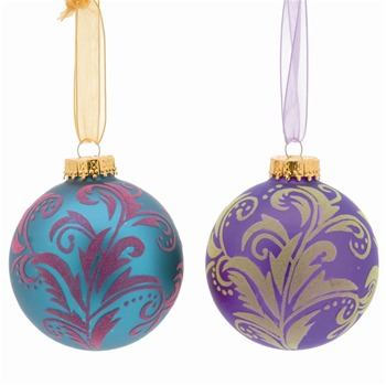 Festive Set of Nine Jade/Purple Decorated Glass Baubles