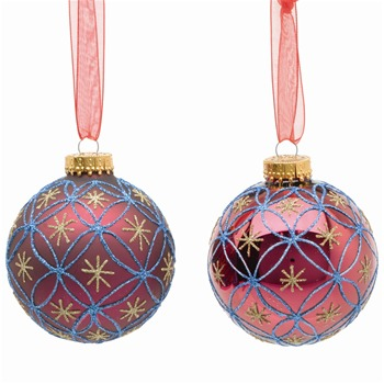 Festive Set of Nine Fuchsia Decorated Glass Baubles