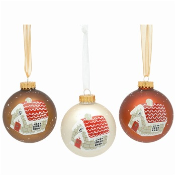 Festive Set of Nine Vanilla/Caramel/Cinammon Glass Baubles