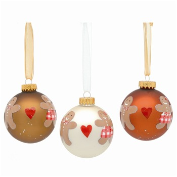 Festive Set of Nine Vanilla/Caramel/Cinammon Decorated Glass Baubles