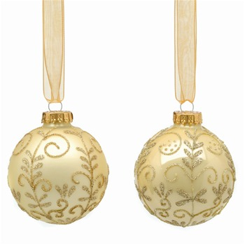 Festive Set of Nine Gold Decorated Glass Baubles