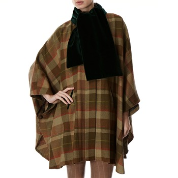 Avoca Anthology Green Oversized Check Wool Cape