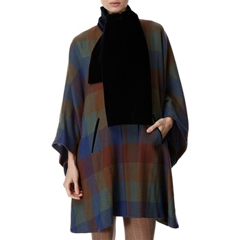 Avoca Anthology Blue Oversized Check Wool Cape