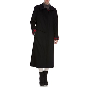 Avoca Anthology Black Tartan Trim Long Wool Coat