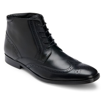 Rockport Black Leather Wingtip Boots