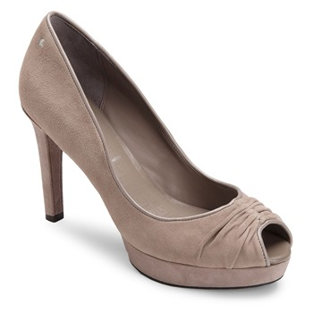 Rockport Taupe Leather Janea Peep Toe Shoes 10cm Heel