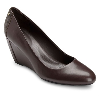 Rockport Brown Leather Nelsina Wedge Pumps 7cm Heel