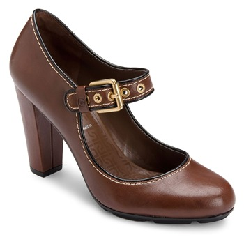Rockport Brown Leather Jalicia Mary Janes Shoes 8cm Heel