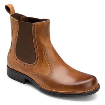 Rockport Brown Leather Pull On Chelsea Boots