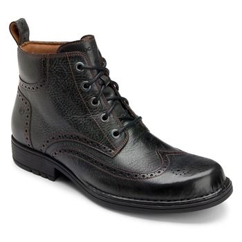 Rockport Black Leather Perforated Toe Boots
