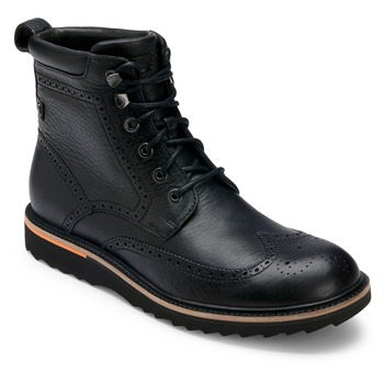 Rockport Black Leather Union Street Wing Boots