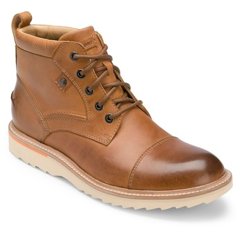 Rockport Brown Leather Union Street Cap Ankle Boots