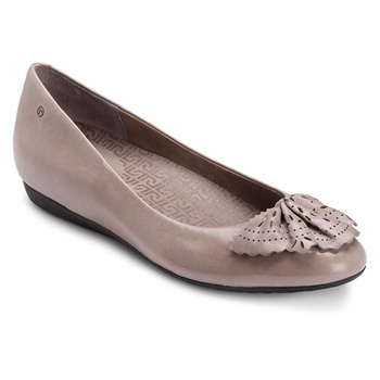 Rockport Taupe Perforated Fan Leather Pumps