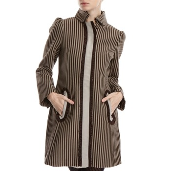 Hoss Intropia Brown/Grey Cotton Striped Coat