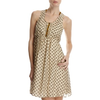 Hoss Intropia Beige Printed Babydoll Silk Dress
