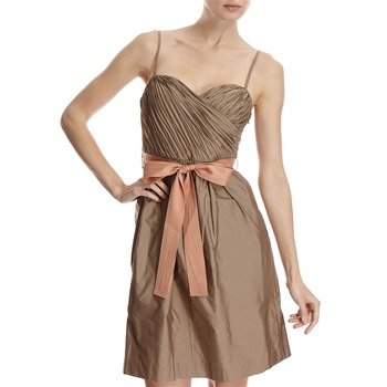 Hoss Intropia Tan Pleated Bodice Dress