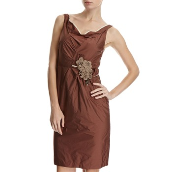 Hoss Intropia Brown Jewelled Brooch Ruffle Dress
