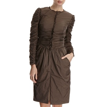 Hoss Intropia Brown Ruffled Duster Jacket