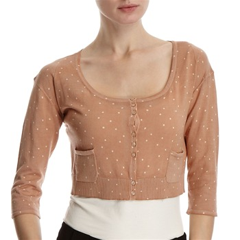 Hoss Intropia Peach Spotted Cropped Cardigan