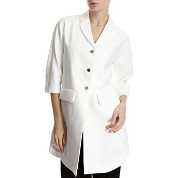 Hoss Intropia White Gold Button Overcoat