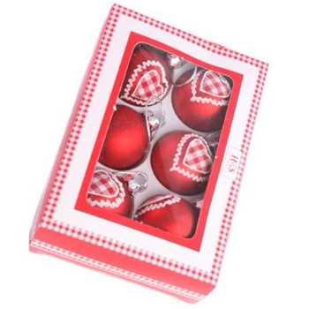 Heaven Sends Red Gingham Hearts Baubles