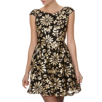 Cotton Club Black/Gold Floral Sequin Dress