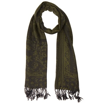 Yas Silver Green/Black Fringed Pashmina
