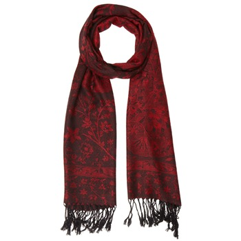 Yas Silver Red/Black Fringed Pashmina