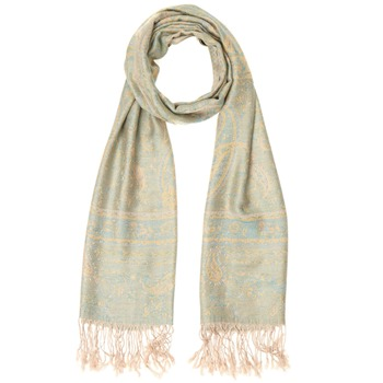 Yas Silver Cream/Multi Fringed Pashmina