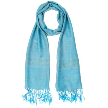 Yas Silver Turquoise/Multi Fringed Pashmina