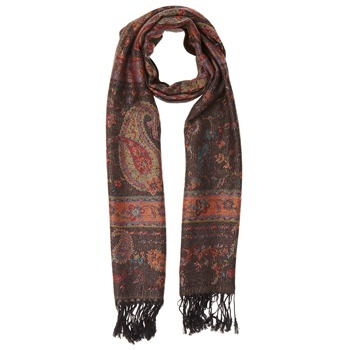 Yas Silver Multicolour Fringed Pashmina