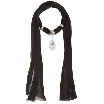 Yas Silver Black Leaf Jersey Embellished Scarf
