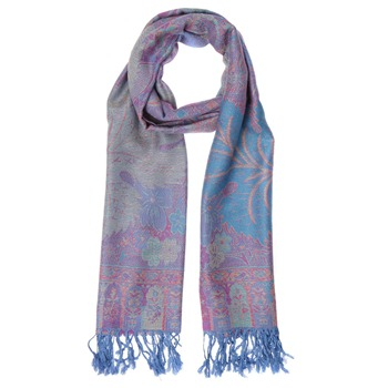 Yas Silver Blue/Purple Fringed Pashmina
