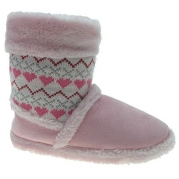 Beppi Pink Heart Print Slippers