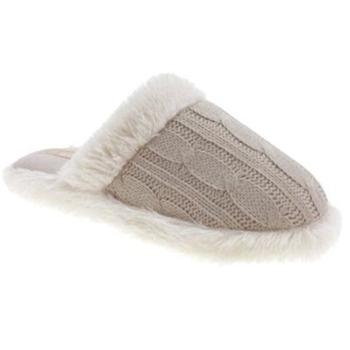 Beppi Beige Cable Knit Slippers