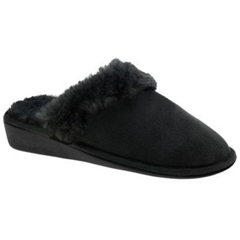 Beppi Black Faux Fur Wedge Slippers