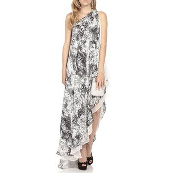 Halston Heritage Black/White Ocean Spray Printed Silk Dress