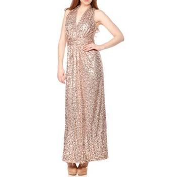 Badgley Mischka Nude Sequin Halter Dress