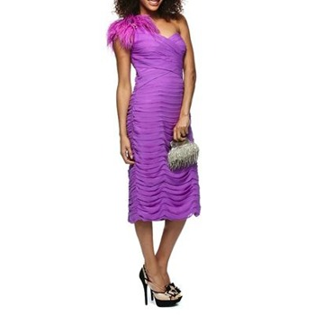Ruth Tarvydas Purple Silk Feathers Dress