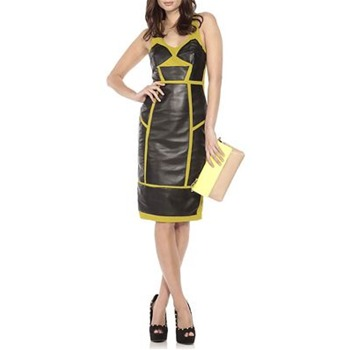 Nicole Miller Black Warrior Leather Panel Dress