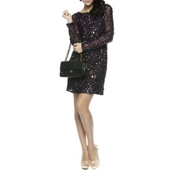 Aidan Mattox Purple Long Sleeve Sequin Dress